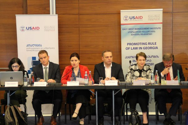 Left to right: Sopo Verdzeuli, Human Rights Education and Monitoring Center, Nicholas Berliner, Deputy Chief of Mission, the United States Embassy in Georgia, Ana Natsvlishvili, Georgian Young Lawyers Association, Giorgi Gogia, Human Rights Watch, Nino Gvenetadze, Chief Justice of the Supreme Court, Janos Herman, the European Union Ambassador to Georgia